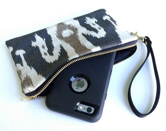 Black Ikat Phone Clutch