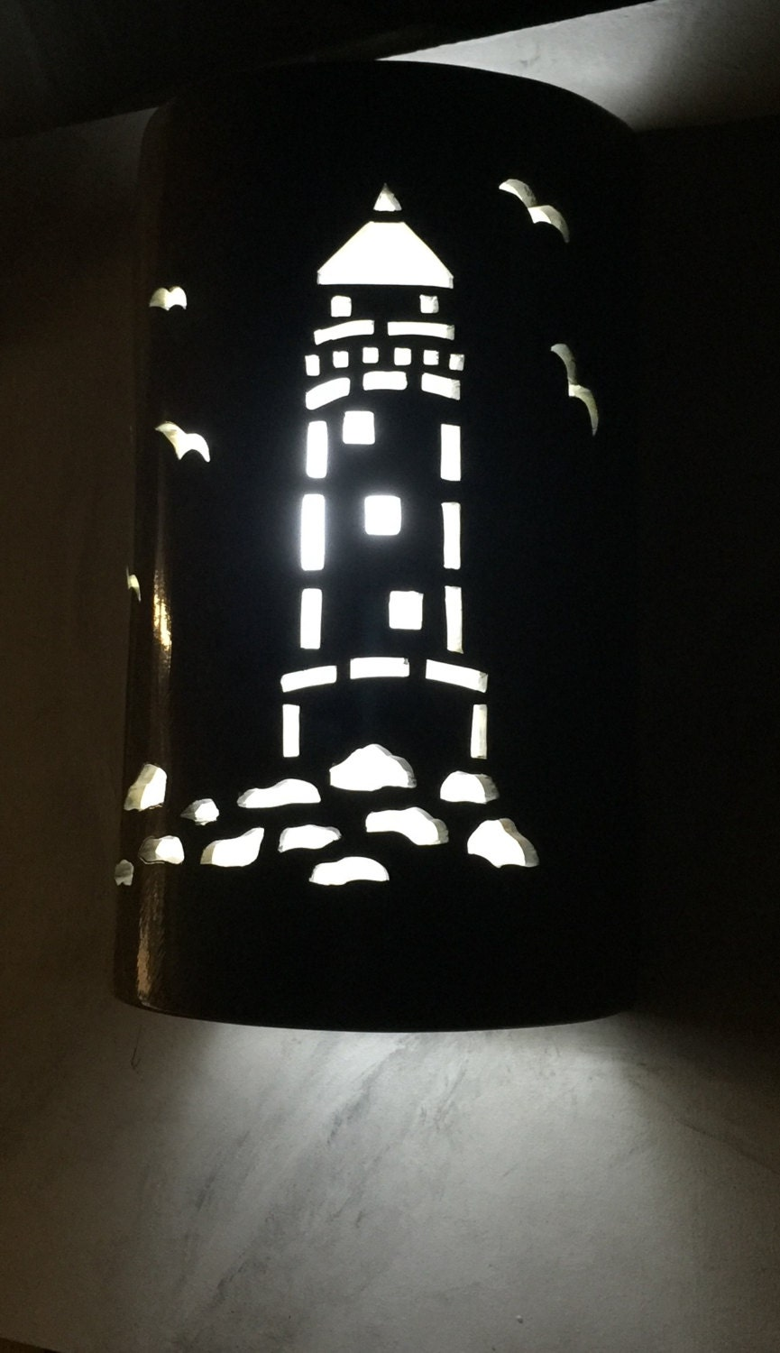 Lighthouse wall sconce ceramic wall light nautical zoom amipublicfo Gallery