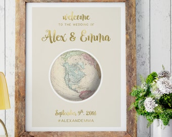 Antique Map Wedding Welcome Sign for Travel Theme Wedding Reception Signage in Vintage Style