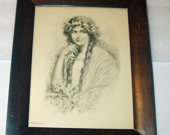 Victorian Lady with Long Braided Hair Portrait Pose Original 1900 Antique Artogravure Print Wood Frame Home Decor Wall hanging Art Picture