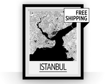 Istanbul Map Poster - turkey Map Print - Art Deco Series