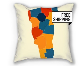 Vermont Map Pillow - VT Map Pillow 18x18
