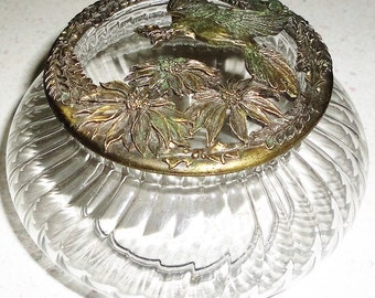 RAWCLIFFE Pewter 1993 Vintage Glass Trinket Dish Home Decor Made in USA