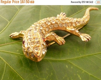 1940s Coro Lizard Gecko Figural Rhinestone Brooch
