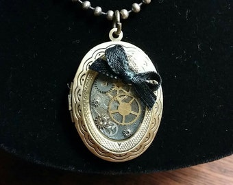 2 Photo Steampunk Locket Necklace