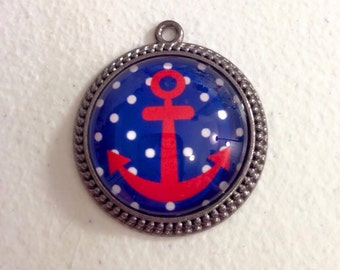 Polka dot anchor pendant necklace