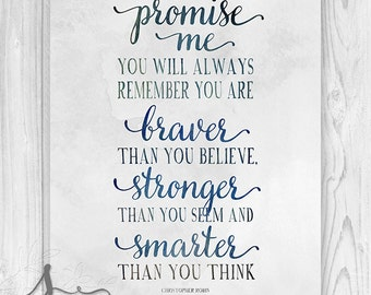 Winnie the Pooh Typography Quote Art Print, Christopher Robin Quote, Nursery Decor, Baby Nursery Art, Always Remember Typography Poster