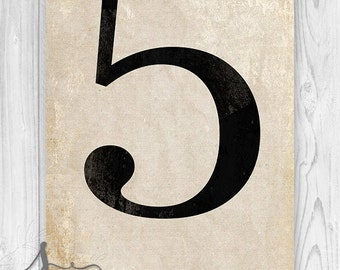5, Number Five Art Print, Numerology, Vintage Number Decor, Number Poster, Number Wall Print, Numeral Print, Wall Art Print, Home Decor