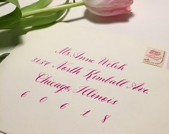 Wedding Calligraphy Envelope Addressing, Hand Lettered-Copperplate Style Script
