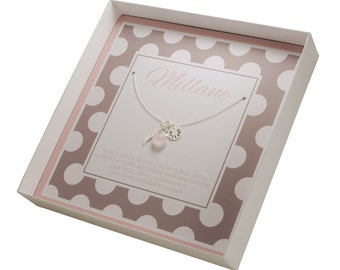Name jewellery engraving, christening necklace gift box