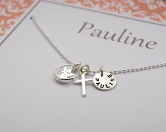 Baptism christening ring chain engraving, jewelry to the baptism in personalised gift box
