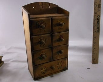 Vintage Hand Painted 7 Drawer Wood Sewing Notion Cabinet Box.epsteam