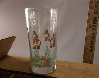 8 Vintage Anchor Hocking Tumblers Bar ware Glasses  Turquoise White And Gold Mid Century.epsteam