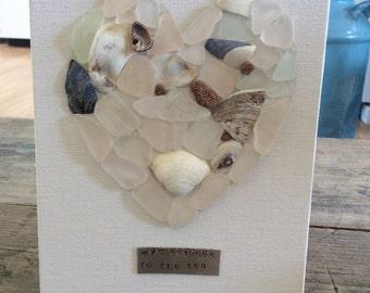 My heart belongs to the Sea sea glass heart