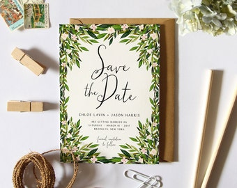 Greenery Save the Date Card, Printable Simple Save the Date, Garden Wedding, DIY Bridal Stationary, Green Leaves Botanical Card