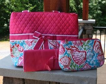 Girls Custom Personalized Pink Diaper Bag Seashells
