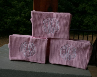 3 Monogrammed Bridesmaid Gifts Waffle Weave Cosmetic Bags