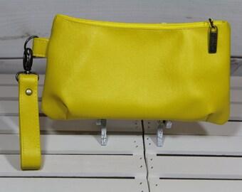 Wristlet Clutch Wallet, Vegan Wristlet Clutch, Vegan Purse Clutch, Vegan Clutch Wristlet, Yellow Vinyl Clutch, Yellow Faux Leather Clutch