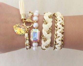 YOU PICK- Heart & Tassel or Gold Braided Bracelet or Reversible Weave or Set