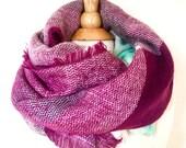 Plaid Blanket Scarf Plum Berry Mint Color Oversized Zara Tartan Scarf Gift Ideas