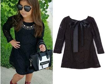 Dreaming Kids Black Bow Lace Dress