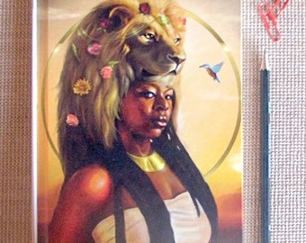 Journal, Diary, Hardcover Notebook, Leo, Zodiac, African American Art, Black Woman, Goddess, Afrofutrism, Natural Hair, Fantasy