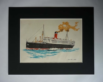 1940s Antique Mail Liner Print, Available Framed, Ship Art, British Nautical Gift, Boys' Bedroom Wall Art, Maritime Decor Steamer Picture