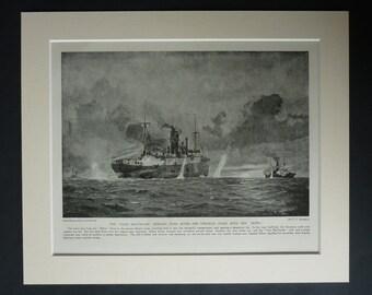 1920s WWI Nautical Print of SS Clan Mactavish, SMS Mowe Decor, Available Framed, Maritime Art, Merchant Navy Picture, German Naval Wall Art