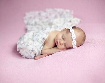 White Headband for baby ,Christening  Baby Girls  Headband ;  Headband for girl baby newborn