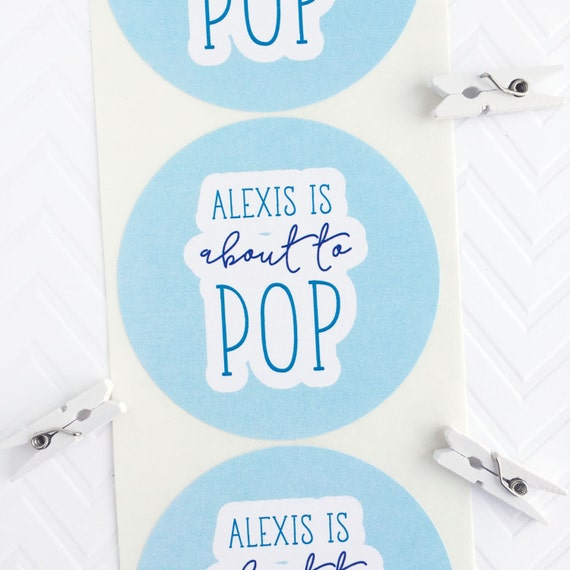 Shes about to pop ready to pop stickers baby shower by invitedtoo for Shes ready to pop stickers
