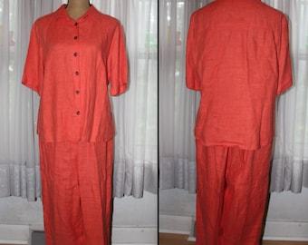 Vintage Harvé Benard Linen Blouse And Pant / Capri Set / Outfit