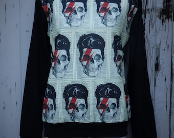 David Bowie Skull Lightning Bolt Sweater - Size 10 12 14 16 - Jumper Top Long Sleeve Rock Alternative Goth Gothic Stardust Ziggy