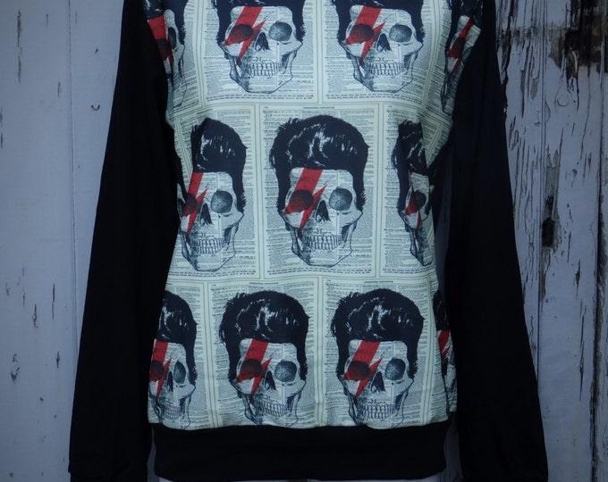 David Bowie Skull Lightning Bolt Sweater - Size 10 12 14 16 - Jumper Top Long Sleeve Rock Alternative Goth Gothic Stardust Ziggy