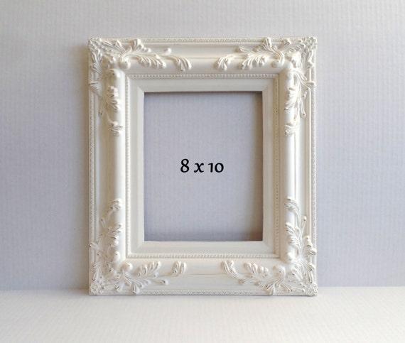creamy white 8x10 picture frame vintage wood gesso ornate. Black Bedroom Furniture Sets. Home Design Ideas