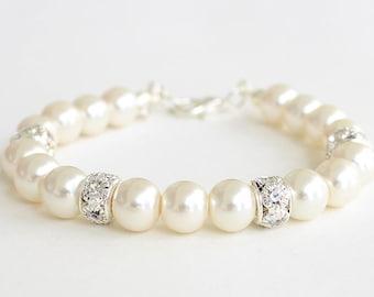 Bridal party gifts, bridesmaid pearl bracelet, bridesmaid gift, pearl bracelet, wedding gift, pearl and rhinestones bracelet, mother gift