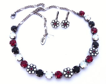 Swarovski Crystal Necklace, Siam Ruby Red, White Opals, Jet Black, Flower Embellishments, Wedding Jewelry, HOLIDAY BLING, Free Shipping