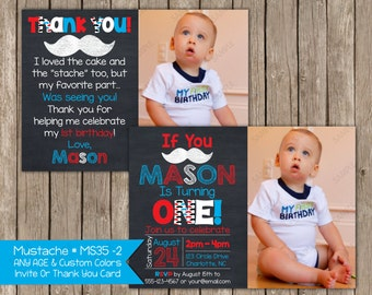 Mustache Bash - Chalkboard - Little Mister Birthday Invitation or Thank You Card  Digital Printable