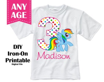 Rainbow Dash Girl Iron On Transfer Girl  Personalized Name Age - Digital File