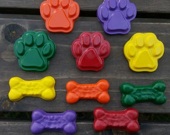 Dog bones and Dog paw crayons set of 20 crayons - party favor