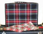 Vintage Plaid Suitcase, Vintage Plaid Train Case