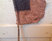 Primitive Americana Aged American Flag 4th of July Summer Holiday Memorial Day Holiday