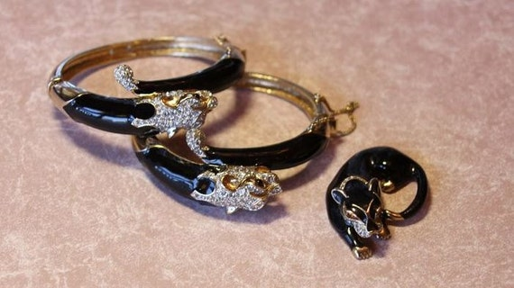Pair of Panetta Rare Bob Cat Enamel and Pave Bracelets and Brooch