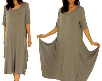 HD900TP dress layered look tunic balloon shape short sleeve asymmetrical Gr. 38 40 42 44 portable taupe