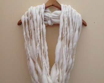 Handspun Thick and Thin Double Bulky Merino Yarn {No. 50 Special} - 50 yds Natural Ecru