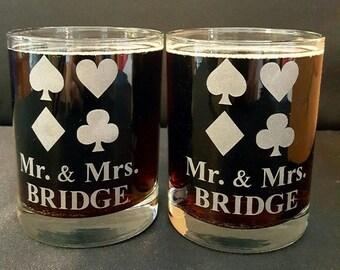 Set of TWO Mr and Mrs Bridge Whiskey, Mixed Drink, Rocks Glasses, Bridge Player gift, Bridge Couples Drinking Glasses