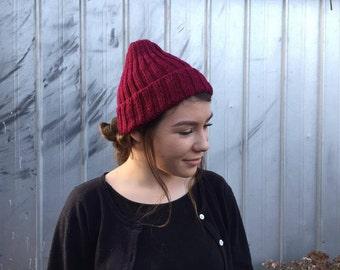deep red knit rib beanie