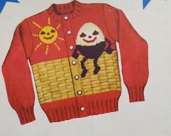 Knit O Graf 1951 Child's Cardigan Sweater Knitting Pattern - Humpty Dumpty