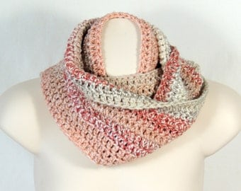 Crochet Infinity Scarf Cowl Shades of Salmon Peach and Beige