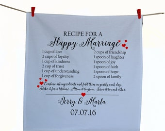 Personalized Wedding Tea Towel -Recipe For A Happy Marriage -Valentines Gifts- Wedding Gift -Gift For Her -Gift For Him -Wedding Registry