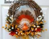 Thanksgiving Turkey Wreath, Turkey Wreath, Thanksgiving Wreath